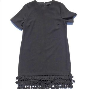 Zara NWOT Black Tassel Shift Dress Size Small